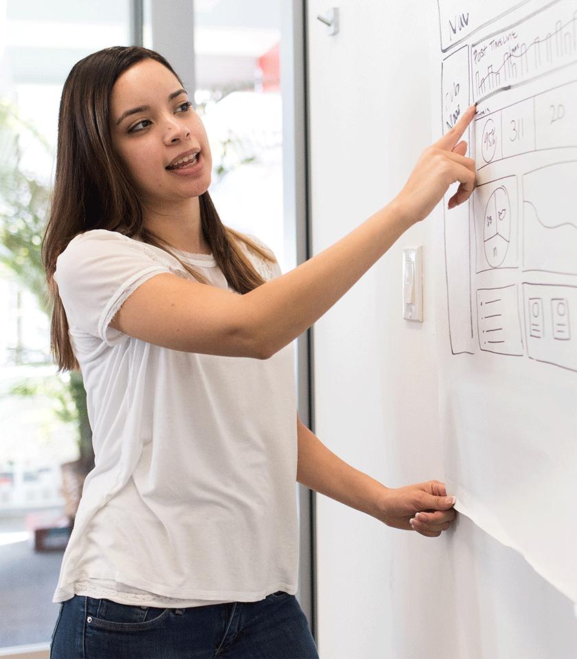Junge Frau erklärt eine Grafik am Whiteboard